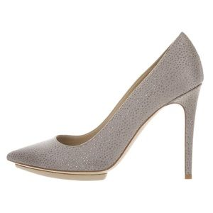 Stella McCartney satin silver glitter pumps